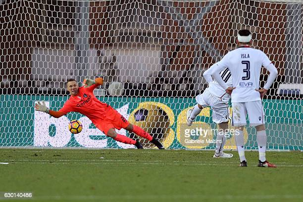 Joao Pedro dos Santos of Cagliari Calcio misses while Lukasz Skorupski of Empoli FC saves the penalty during the Serie A match between Empoli FC and...