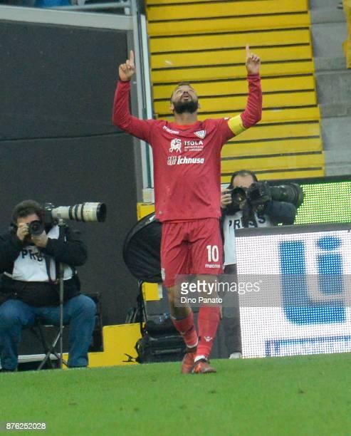 Joao Pedro Geraldino of Cagliari Calcio celebrates after scoring his opening goal during the Serie A match between Udinese Calcio and Cagliari Calcio...