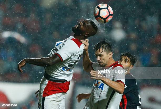 Joao Pedro of Atletico Paranaense heads the ball during a group stage match between San Lorenzo and Atletico Paranaense as part of Copa CONMEBOL...