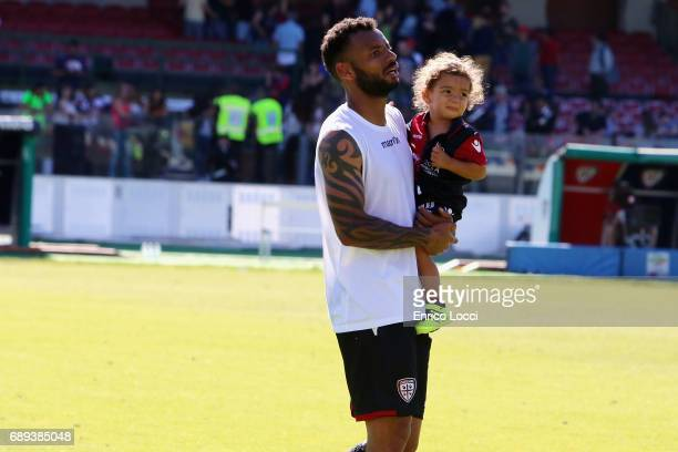 Joao Pedro of Cagliari and the son during the Serie A match between Cagliari Calcio and AC Milan at Stadio Sant'Elia on May 28 2017 in Cagliari Italy