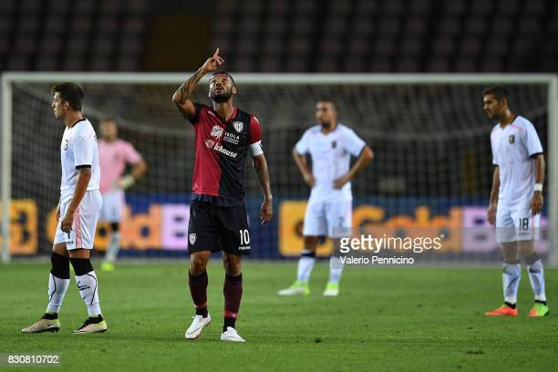 Joao Pedro of Cagliari Calcio celebrates after scoring the opening goal during the TIM Cup match between Cagliari Calcio and US Citta di Palermo at...