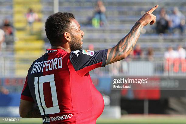 Joao Pedro of Cagliari celebrated the goal 20 during the Serie A match between Cagliari Calcio and Udinese Calcio at Stadio Sant'Elia on May 31 2015...