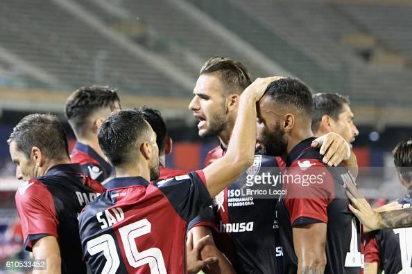 Joao Pedro of Cagliari celebrated the goal with the team mates during the Serie A match between Cagliari Calcio and UC Sampdoria at Stadio Sant'Elia...