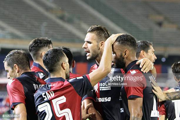 Joao Pedro of Cagliari celebrated the goal with the team mates during the Serie A match between Cagliari Calcio and UC Sampdoria at Stadio Sant'Elia...
