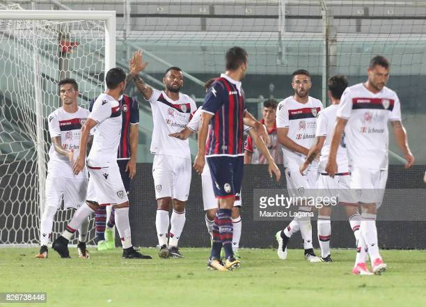 Joao Pedro of Cagliari celebrates after scoring his team's equalizing goal during the PreSeason Friendly match between FC Crotone and Cagliari Calcio...