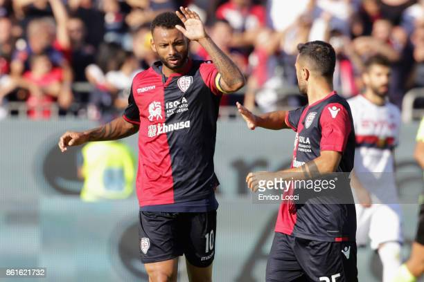 Joao Pedro of Cagliari celebrates after scoring his team's second goal from the penalty spot during the Serie A match between Cagliari Calcio and...