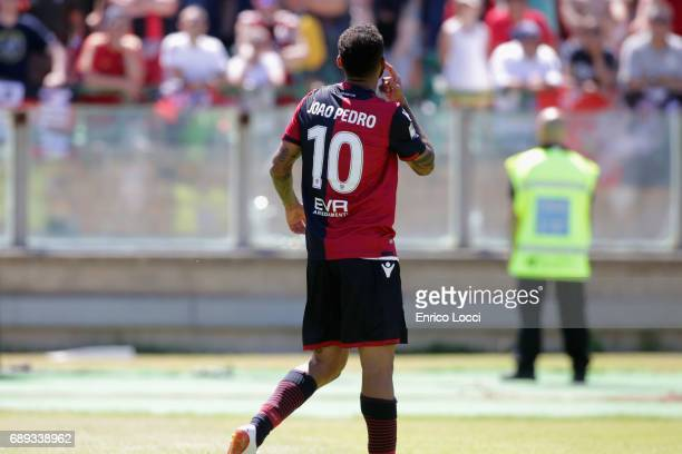 Joao Pedro of Cagliari celebrates his goal 10 during the Serie A match between Cagliari Calcio and AC Milan at Stadio Sant'Elia on May 28 2017 in...