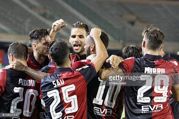 Joao Pedro of Cagliari celebrates his goal with the team mates during the Serie A match between Cagliari Calcio and UC Sampdoria at Stadio Sant'Elia...