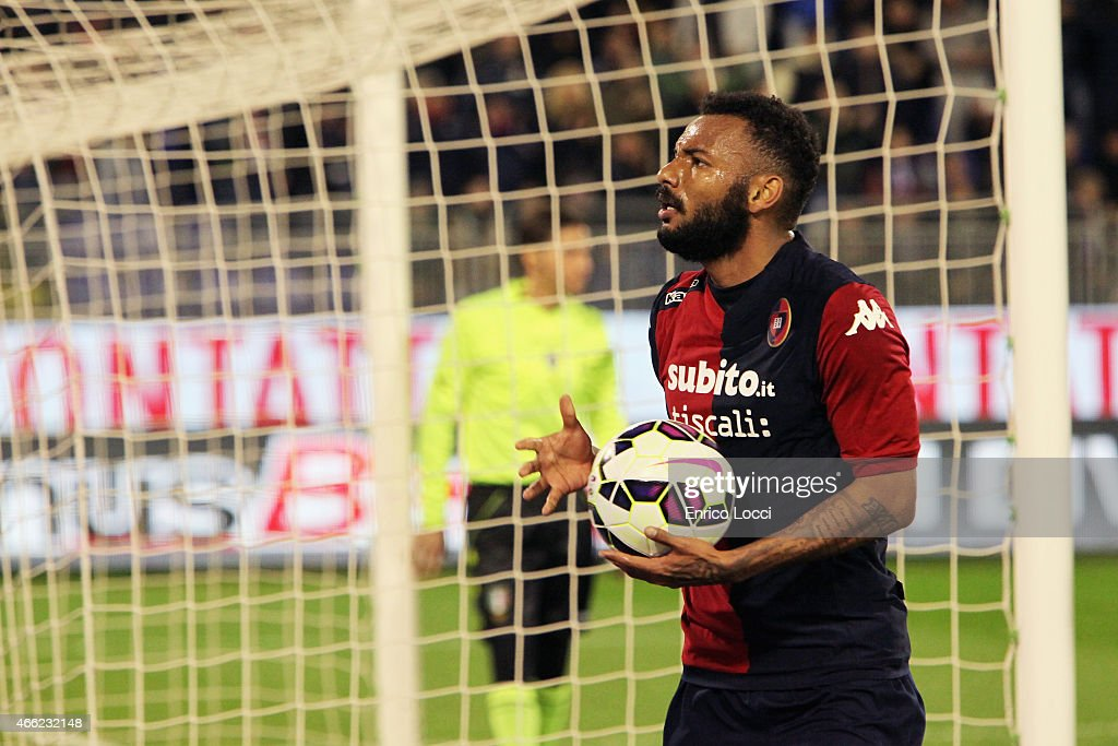 Joao Pedro of Cagliari celebrates the goal of 10 during the Serie A match between Cagliari Calcio and Empoli FC at Stadio Sant'Elia on March 14 2015...