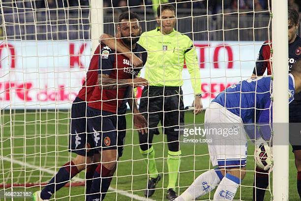 Joao Pedro of Cagliari celebrates the goal of 10 during the Serie A match between Cagliari Calcio and Empoli FC at Stadio Sant'Elia on March 14 2015...