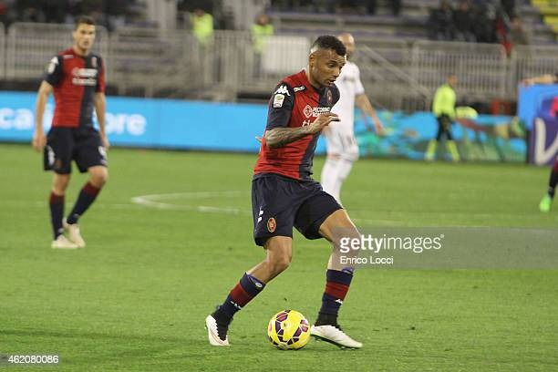 Joao Pedro of Cagliari in action during the Serie A match between Cagliari Calcio and US Sassuolo Calcio at Stadio Sant'Elia on January 24 2015 in...