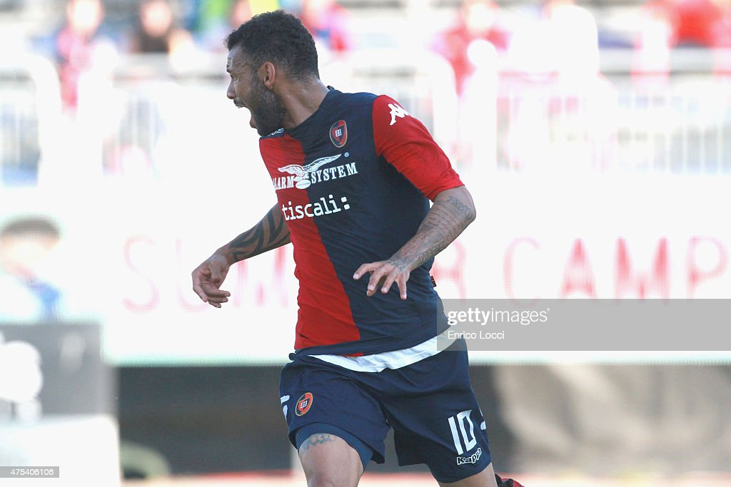 Joao Pedro of Cagliari in action during the Serie A match between Cagliari Calcio and Udinese Calcio at Stadio Sant'Elia on May 31 2015 in Cagliari...