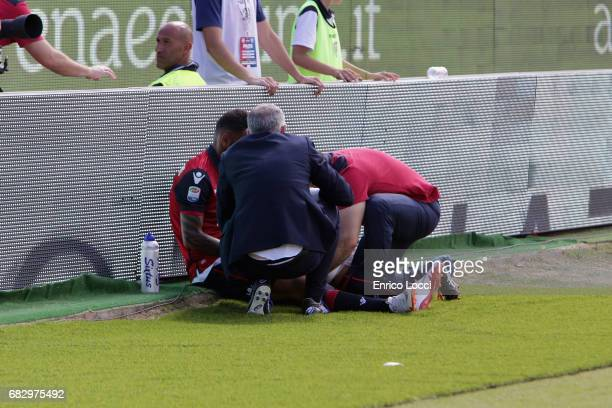 Joao Pedro of Cagliari injured during the Serie A match between Cagliari Calcio and Empoli FC at Stadio Sant'Elia on May 14 2017 in Cagliari Italy