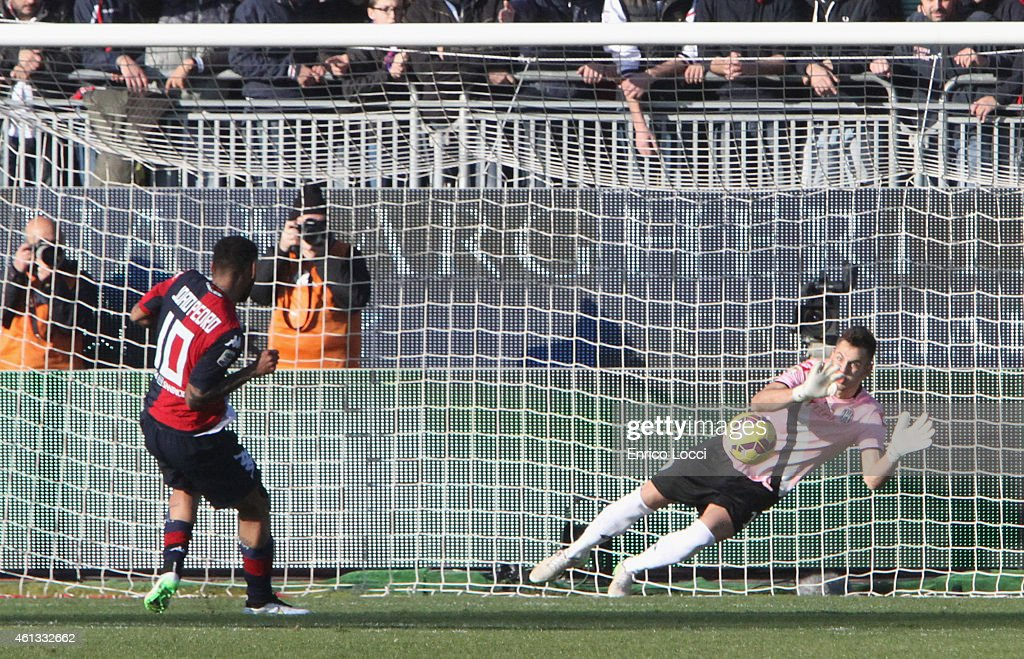 Joao Pedro of Cagliari pulls the penalty that was saved during the Serie A match between Cagliari Calcio and AC Cesena at Stadio Sant'Elia on January...