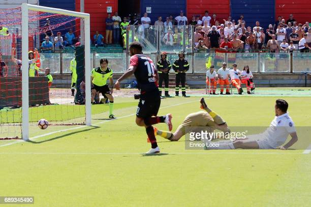 Joao Pedro of Cagliari scored his goal 10 during the Serie A match between Cagliari Calcio and AC Milan at Stadio Sant'Elia on May 28 2017 in...