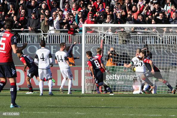Joao Pedro of Cagliari scored the goal 10 during the Serie A match between Cagliari Calcio and AC Cesena at Stadio Sant'Elia on January 11 2015 in...