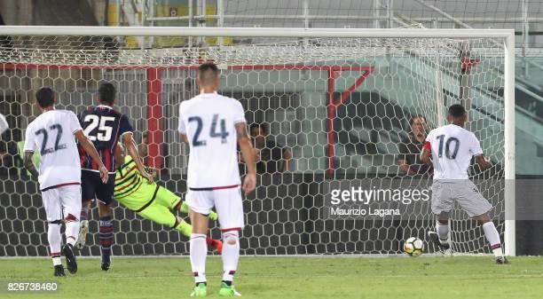 Joao Pedro of Cagliari scores his team's equalizing goal during the PreSeason Friendly match between FC Crotone and Cagliari Calcio at Stadio...