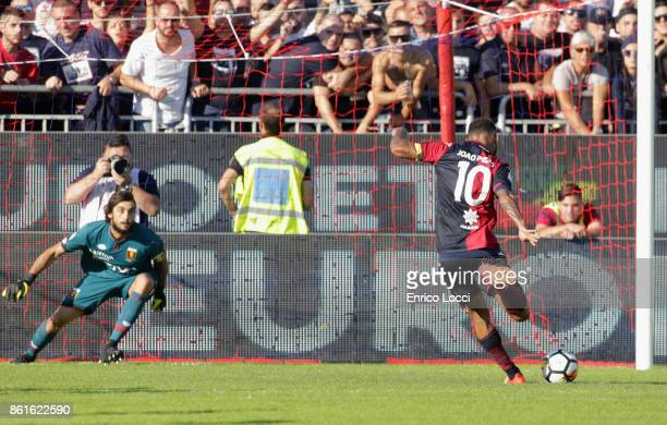 Joao Pedro of Cagliari scores his team's second goal from the penalty spot during the Serie A match between Cagliari Calcio and Genoa CFC at Stadio...