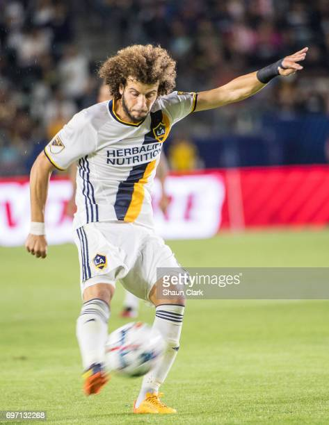 Joao Pedro of Los Angeles Galaxy shoots during the Los Angeles Galaxy's MLS match against Houston Dynamo at the StubHub Center on June 17 2017 in...