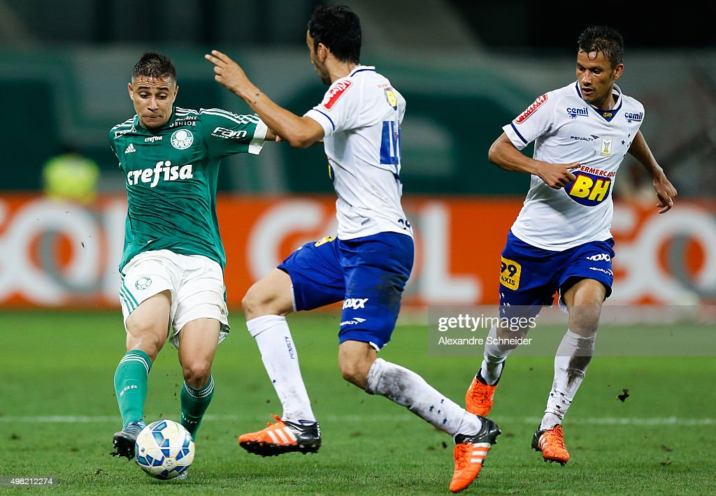 Joao Pedro (L) of Palmeiras in action during the match between Palmeiras and Cruzeiro for the Brazilian Series A 2015 at Allianz Parque stadium on November 21 , 2015 in Sao Paulo, Brazil.