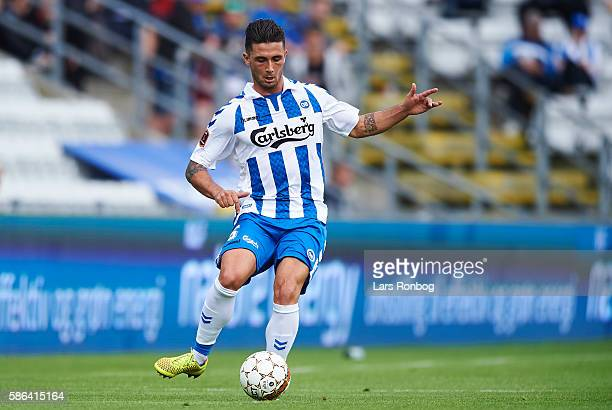 Joao Pereira of OB Odense controls the ball during the Danish Alka Superliga match between OB Odense and Viborg FF at TreFor Park on August 6 2016 in...