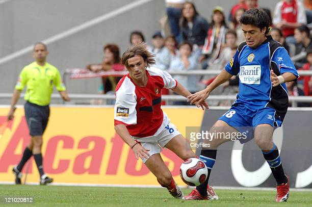 Joao Pinto and Bruno during the Portuguese League match between Nacional da Madeira and Sporting Braga in Braga Portugal on May 20 2007