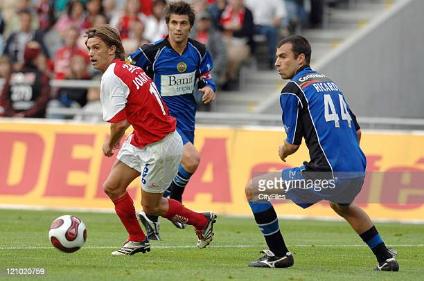 Joao Pinto and Ricardo Fernandes during the Portuguese League match between Nacional da Madeira and Sporting Braga in Braga Portugal on May 20 2007