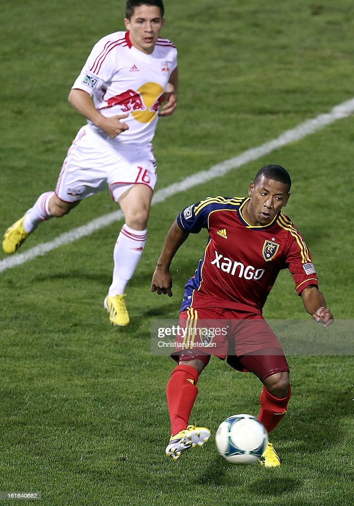 Joao Plata #8 of the Real Salt Lake shoots to score a first half goal past Connor Lade #16 of the New York Red Bulls during FC Tucson Desert Diamond Cup at Kino Sports Complex on February 13, 2013 in Tucson, Arizona.