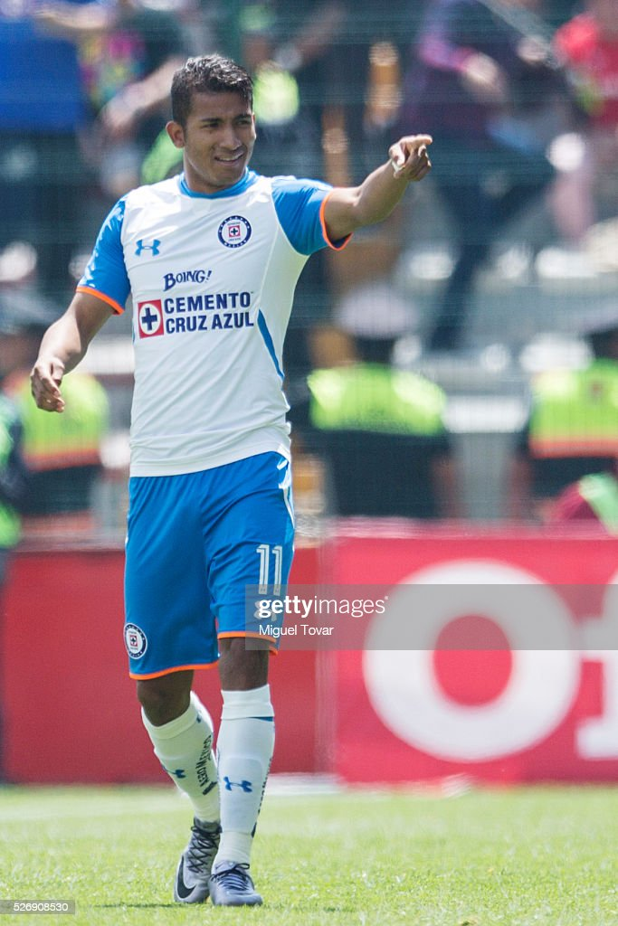 <a gi-track='captionPersonalityLinkClicked' href=/galleries/search?phrase=Joao+Rojas&family=editorial&specificpeople=5670882 ng-click='$event.stopPropagation()'>Joao Rojas</a> of Cruz Azul celebrates after scoring during the 16th round match between Toluca and Cruz Azul as part of the Clausura 2016 Liga MX at Nemesio Diez Stadium on May 01, 2016 in Toluca, Mexico.