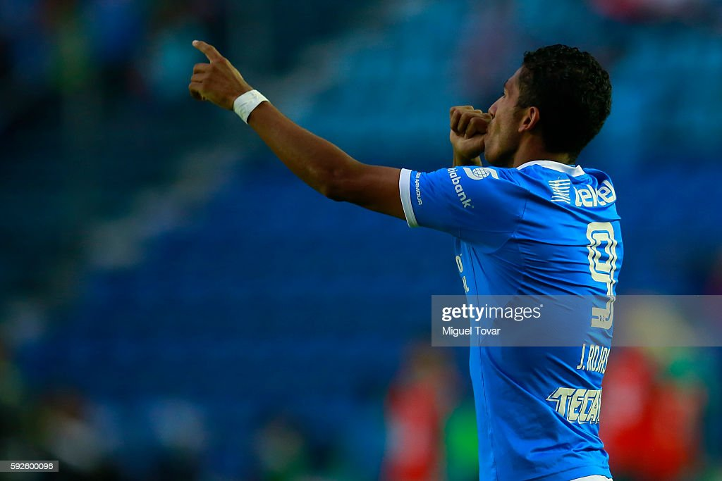 Joao Rojas of Cruz Azul celebrates after scoring during the 6th round match between Cruz Azul and Santos Laguna as part of the Torneo Apertura 2016...