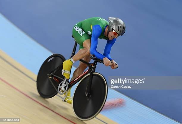Joao Schwindt Filho of Brazil competes in Men's Individual C45 1km Cycling Time Trial final on day 2 of the London 2012 Paralympic Games at Velodrome...