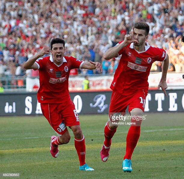 Joao Silva of Bari celebrates after scoring his team's second goal during the Serie B playoff match between AS Bari and US Latina at Stadio San...