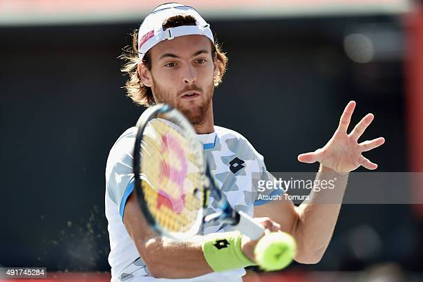 Joao Sousa of Portugal competes against Austin Krajicek of USA during the men's singles second round match on day four of Rakuten Open 2015 at Ariake...