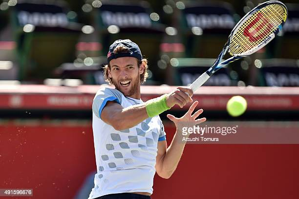 Joao Sousa of Portugal competes against Feliciano Lopez of Spain during the men's singles first round match on day three of Rakuten Open 2015 at...