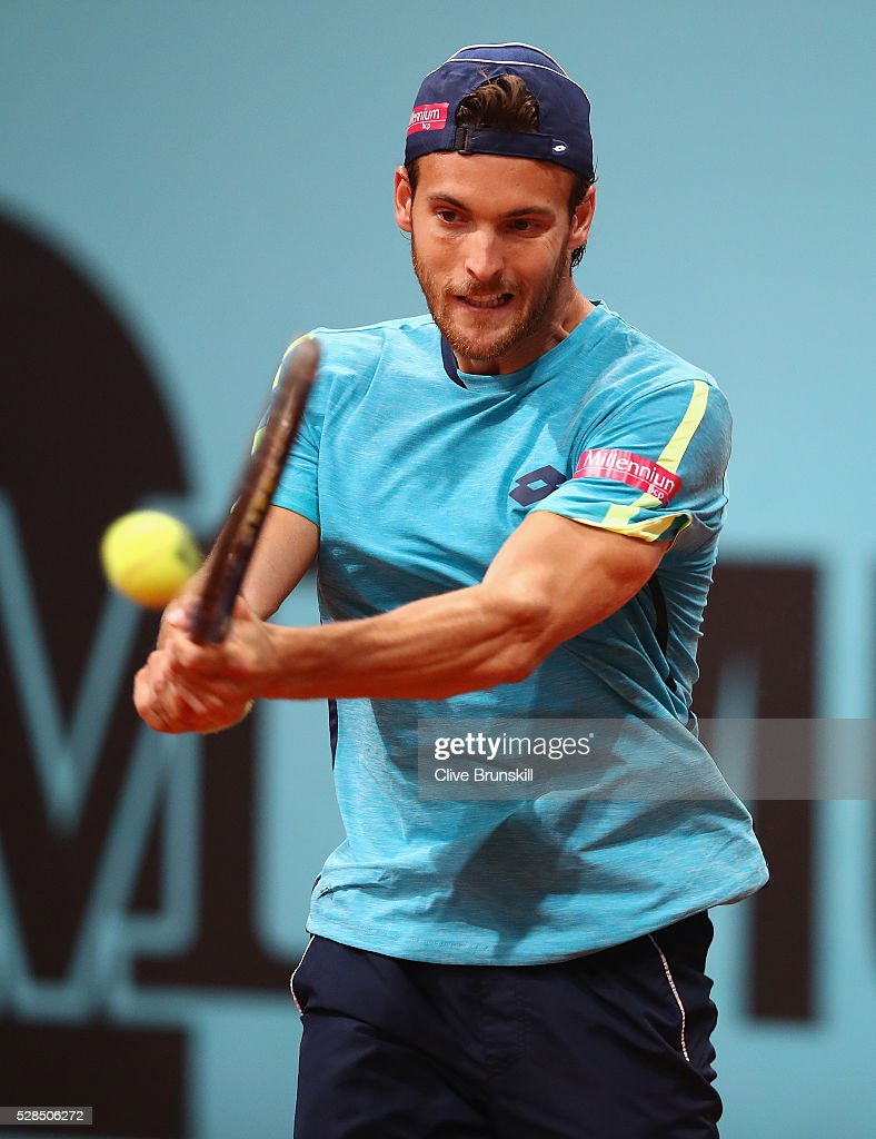 Joao Sousa of Portugal in action against Jack Sock of the United States in their third round match during day six of the Mutua Madrid Open tennis tournament at the Caja Magica on May 05, 2016 in Madrid,Spain