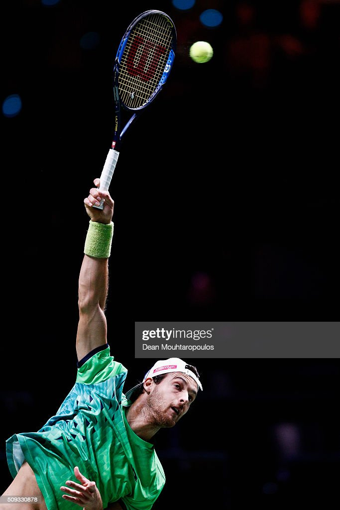 Joao Sousa of Portugal in action against Roberto Bautista Agut of Spain during day 3 of the ABN AMRO World Tennis Tournament held at Ahoy Rotterdam on February 10, 2016 in Rotterdam, Netherlands.