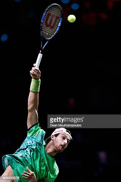 Joao Sousa of Portugal in action against Roberto Bautista Agut of Spain during day 3 of the ABN AMRO World Tennis Tournament held at Ahoy Rotterdam...