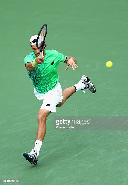 Joao Sousa of Portugal in action against Tomas Berdych of Czech Republic during day four of the ATP Dubai Duty Free Tennis Championship at the Dubai...