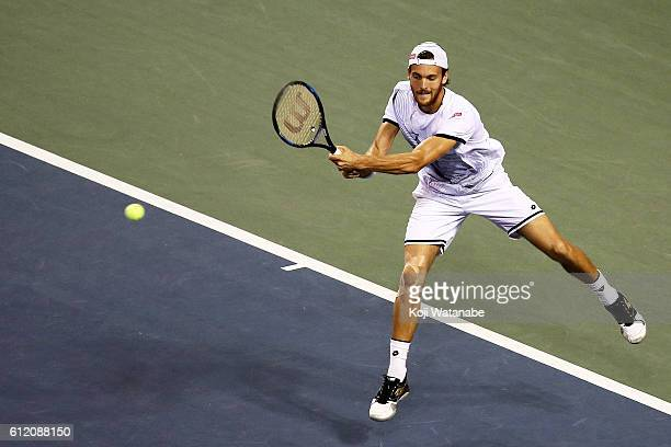Joao Sousa of Portugal in action during the men's singles match against Martin Klizan of Slovakia on day one of Rakuten Open 2016 at Ariake Colosseum...