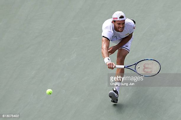 Joao Sousa of Portugal in action during the men's singles quarterfinal match against David Goffin of Belgium on day five of Rakuten Open 2016 at...