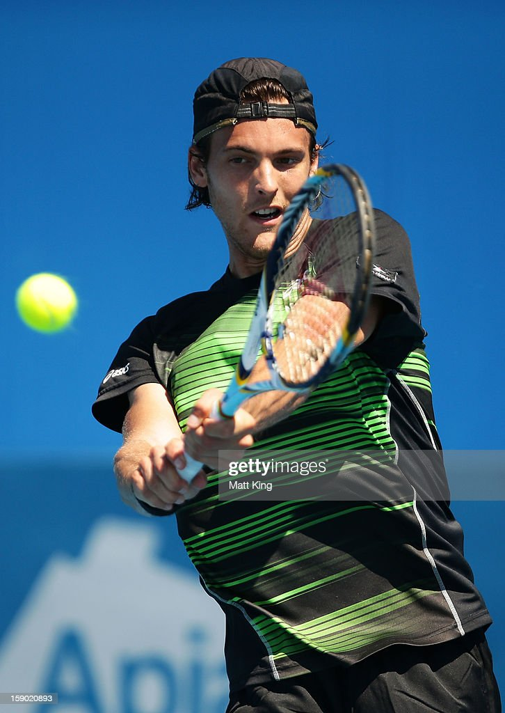 Joao Sousa of Portugal plays a backhand in his final qualifying match against John Patrick-Smith of Australia during day one of the Sydney International at Sydney Olympic Park Tennis Centre on January 6, 2013 in Sydney, Australia.
