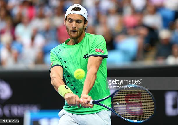 Joao Sousa of Portugal plays a backhand in his third round match against Andy Murray of Great Britain during day six of the 2016 Australian Open at...