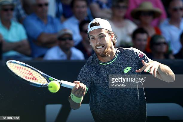 Joao Sousa of Portugal plays a forehand against Marcos Baghdatis of Cyprus on day 12 of the ASB Classic on January 13 2017 in Auckland New Zealand