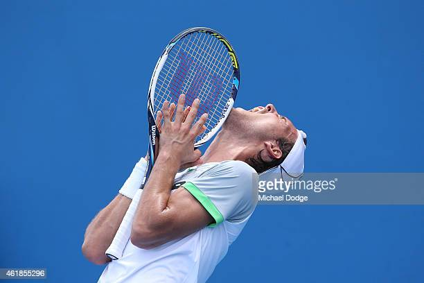 Joao Sousa of Portugal reacts to a point in his second round match against Martin Klizan of Slovakia during day three of the 2015 Australian Open at...