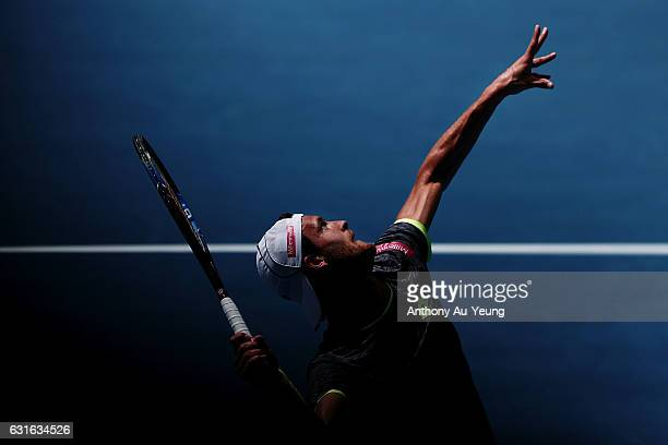 Joao Sousa of Portugal serves in his singles final match against Jack Sock of USA on day 13 of the ASB Classic on January 14 2017 in Auckland New...