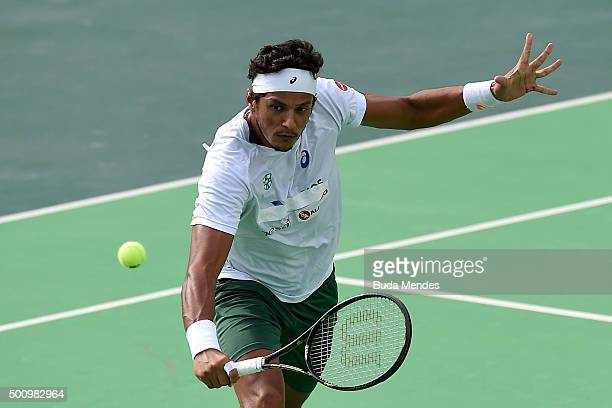 Joao Souza of Brazil in action during the Brazil Tennis Masters Cup as a test event for the Rio 2016 Olympic games at Olympic Park on December 11...