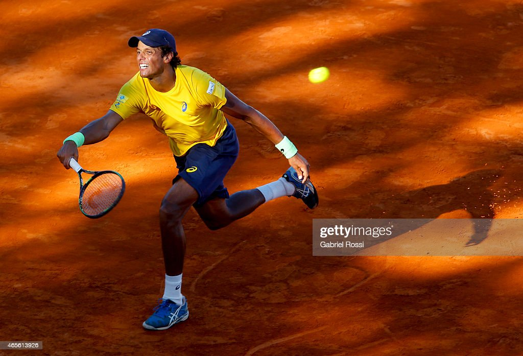 <a gi-track='captionPersonalityLinkClicked' href=/galleries/search?phrase=Joao+Souza+-+Brazilian+Tennis+Player&family=editorial&specificpeople=7935783 ng-click='$event.stopPropagation()'>Joao Souza</a> of Brazil takes a forehand shot during a singles match between Leonardo Mayer of Argentina and <a gi-track='captionPersonalityLinkClicked' href=/galleries/search?phrase=Joao+Souza+-+Brazilian+Tennis+Player&family=editorial&specificpeople=7935783 ng-click='$event.stopPropagation()'>Joao Souza</a> of Brazil as part of Davis Cup 2015 match between Argentina and Brazil at Tecnopolis on March 08, 2015 in Villa Martelli, Buenos Aires, Argentina.