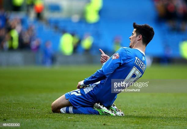 Joao Teixeira of Brighton celebrates after he scored the team's third goal of the game during the Sky Bet Championship match between Brighton Hove...