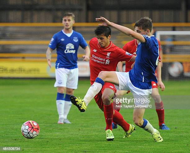 Joao Teixeira of Liverpool and Joe Williams of Everton in action during the Everton v Liverpool Barclays U21 Premier League game at the Merseyrail...