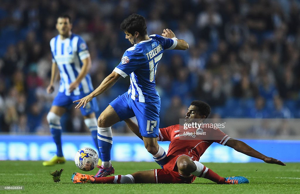 Joao Texeira of Brighton is tackled by Tom Adeyemi of Cardiff during the Sky Bet Championship match between Brighton & Hove Albion and Cardiff City at Amex Stadium on September 30, 2014 in Brighton, England.